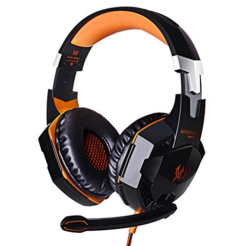 OFT Universal EACH G2000 Gaming Stereo Headset PC LED Light Game Kopfhörer mit USB-Stecker und Mikrofon für PC Laptop Skype Gamer (schwarz+orange)