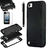 Pandamimi ULAK(TM) Full Protection Hybrid 3 Layer Silicone Armor Hard Inner Case Cover for iPod Touch Generation 5 with Screen Protector and Stylus (Full Black--silicone outter shell)