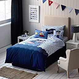 Auvo Kids Bedding Set, Pirate Ship Stripe Nautical Themed Boys Duvet Cover Sets (Twin, 2 Pieces)