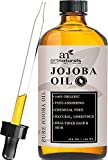 Jojoba Oil, 100% Pure & Natural Unrefined Organic Virgin Cold Pressed Jojoba Oil 120 ml, Made in USA, Gives Even Skin Tone, Youthful Look & Radiant Hair. Best for Lips, Cuticles, Stretch Marks, Skin Inflammation, Sunburn, Eczema & Therapeutic for any skin conditions like Acne. Best massage oil and great moisturizer that helps balance oil production from human skin. Also exceptional for Sensitive & Dry Skin.