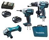 Makita 18V LXT Li Ion LXT202 Kit BHP458, BTD140 & BGA452 BGA452Z BGA452Rfe Angle Grinder