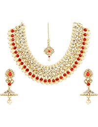 Bling N Beads 18K Gold Plated Bridal Necklace Set With Mang Tikka For Her Wedding