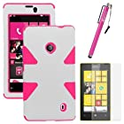 MINITURTLE, Dual Layer Tough Skin Dynamic Hybrid Hard Phone Case Cover, Clear Screen Protector Film, and Stylus Pen for Windows Smart Phone 8 Nokia Lumia 521 /T Mobile /MetroPCS (White / Pink)