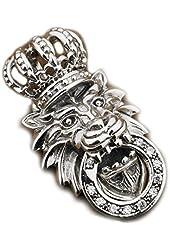 925 Sterling Silver White Cz Stone King Lion Crown Mens Biker Pendant 8p026 Jp