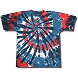 "Tie Dye Mania ""Red, Wild and Blue"" Patriotic Swirl Tie-Dye Short Sleeve T-Shirt"