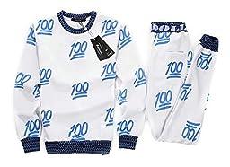 Roseate Unisex 3D Emoji 100 Scores Sweatsuits Sweatpants Shirt Joggers Blue XS
