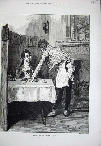 1881 Fine Art Man Restaurant Dinner Table Antique Print