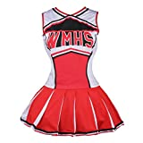 Womens Cheerleader Costume Uniform Fancy Dress Red, US 10-12 (L)