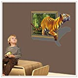 E-Love 3d Style Giant Tiger Vivid Removable Mural Wall Stickers Wall Decal for Home Decor