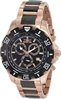Invicta Men's 1221 Invicta II Chronograph Black Dial 18k Rose Gold-Ion Plated Stainless Steel Watch by Invicta