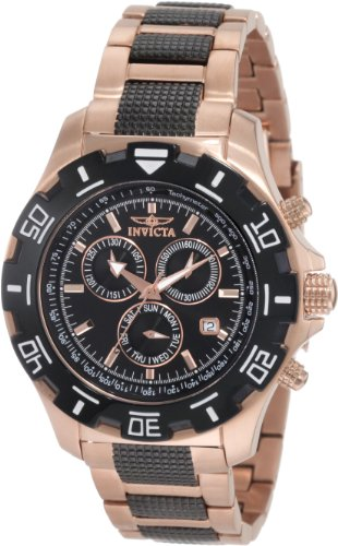 Invicta Men's 1221 Invicta II Chronograph Black Dial 18k Rose Gold-Ion Plated Stainless Steel Watch