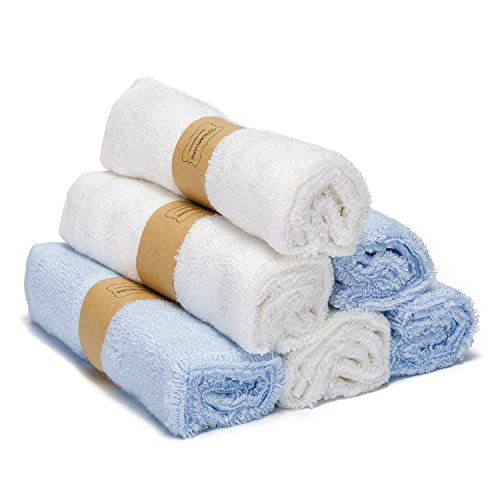 Kimicare Bamboo Baby Washcloths - Premium Soft & Absorbent Towels for Baby Bath - Durable Organic Baby Wipes - Perfect Baby Shower Gift, 10