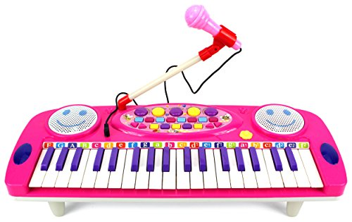 Happy-Face-37-Keys-Electric-Organ-Childrens-Kids-Battery-Operated-Toy-Piano-Keyboard-Instrument-w-Microphone-Pink-by-Velocity-Toys