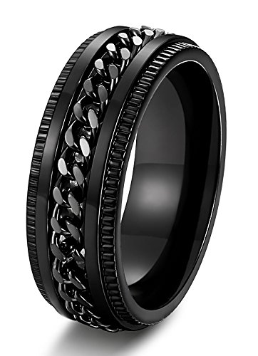cable black titanium rings ring