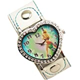 Silver Disney Princess Fairy Tinkerbell Heart Shaped Watch Wristwatch