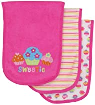 Gerber Baby-Girls  3 Pack Terry Burpcloths Cupcakes, Pink, One Size