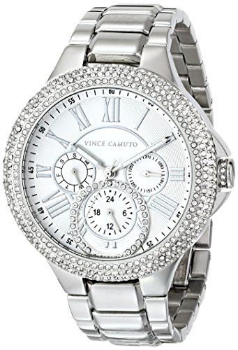 Vince Camuto Women's VC/5179SVSV Swarovski Crystal Accented Multi-Function Silver-Tone Bracelet Watch