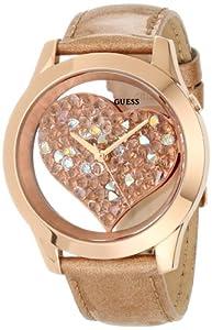 GUESS U0113L3 Rose Gold-Tone Crystal Heart Watch