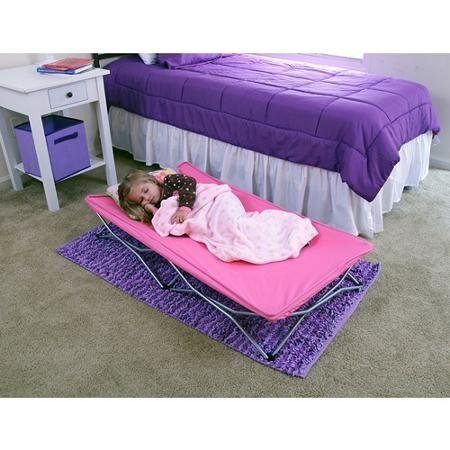 lightweight-and-portable-sturdy-all-steel-frame-portable-folding-travel-bed-with-travel-bag-pink-by-
