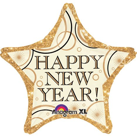 "Happy New Year Gold Star Foil Balloon 19""/48cm - 1"