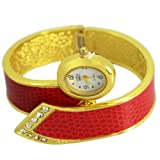 uSs Charming Womens Red Strap Crystals Watch Gold Plate Bangle Bracelet Girl Watch