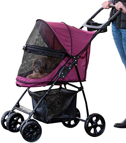 Pet Gear No-Zip Happy Trails Lite Pet Stroller, with Zipperless Entry, Boysenberry