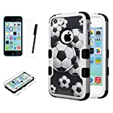JoJoGoldStar iPhone 5C Case, TUFF Hybrid, Slim Fit Heavy Duty Dual Layer Plastic and Silicone TPU Hard Cover with Stylus and Screen Protector (Soccer, Black)
