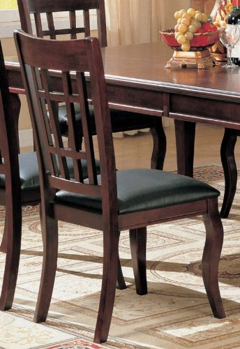 cheap set of 2 dining chairs black leather like rich cherry finish
