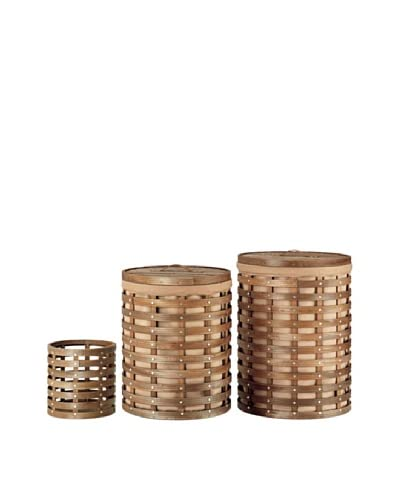 Organize It All Havana 3-Piece Round Hamper & Wastebasket Set