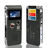 ROCSUN Professional Digital Audio Voice Recorder, Portable Multifunctional Rechargeable Dictaphone, MP3 Music Player, 8GB Memory Internal, USB port, Dual Microphone, Dynamic Noise Reduction (Gray)