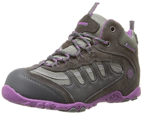Hi-Tec Penrith Mid WP JR Hiking Shoe,Charcoal/Viola,6.5 M US Big Kid