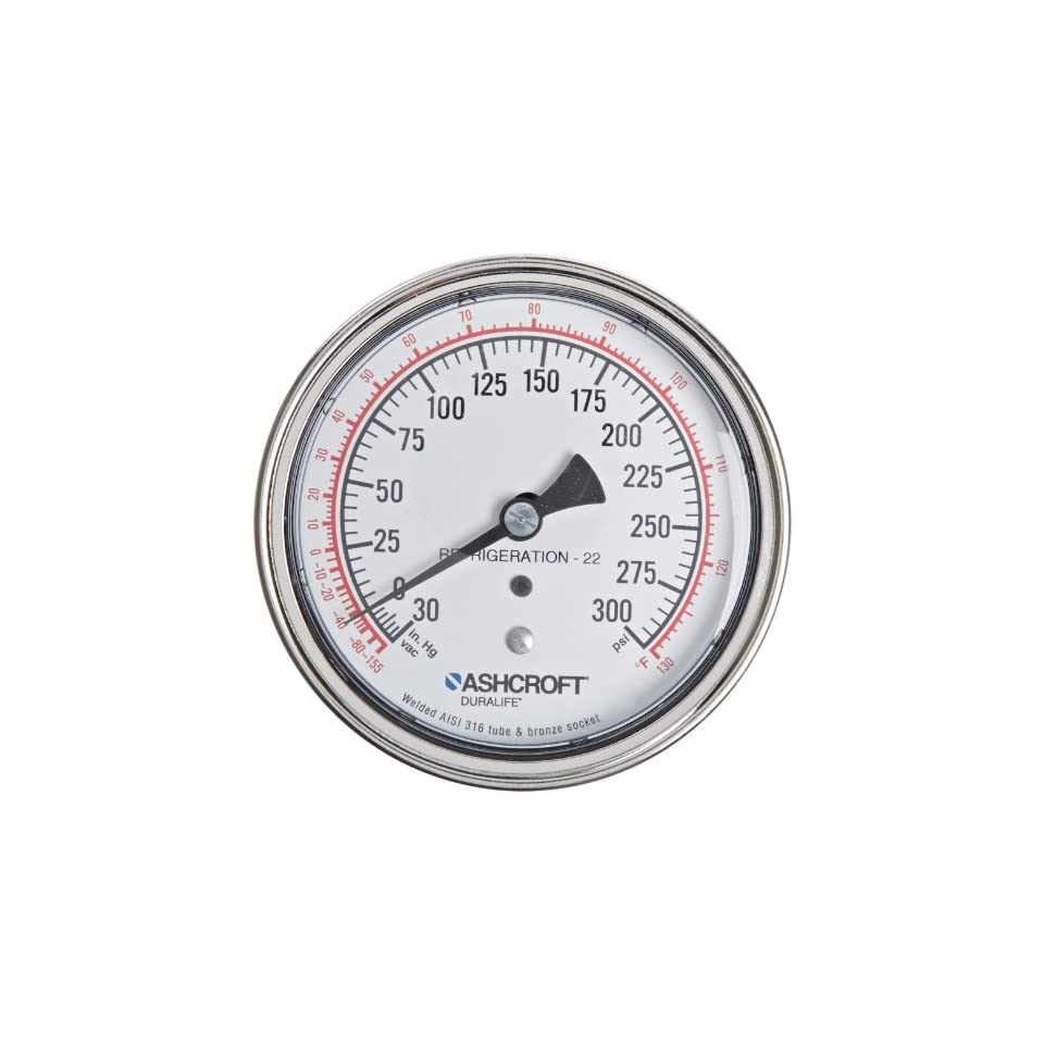 Ashcroft Duralife Type 1009 Stainless Steel Case Glycerin Filled Pressure Gauge, Stainless Steel Tube and Socket, 3.5 Dial Size, 1/4 NPT Lower Connection, 0/160 psi Pressure Range