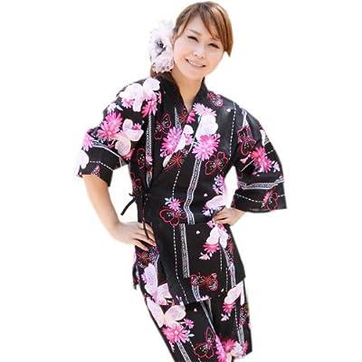 甚平レディース 浴衣柄黒地 花と蝶とレース F