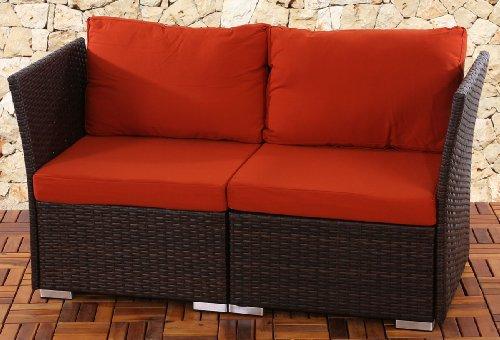 2er Sofa 2-Sitzer Siena Poly-Rattan, Gastronomie-Qualität ~ braun mit Kissen in bordeaux