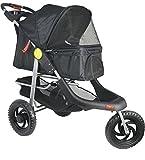 VIVO Three Wheel Jogging Pet Stroller, for Cat, Dog and More, Foldable Jogger Carrier Strolling Cart, Multiple Colors (Black)