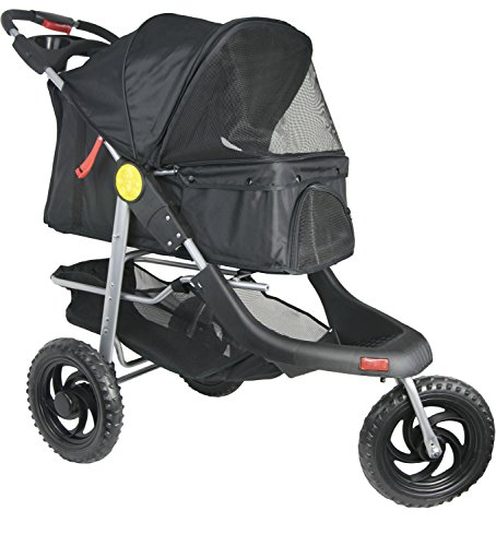 VIVO Three Wheel Jogging Pet Stroller, for Cat, Dog and More, Foldable Jogger Carrier Strolling Cart, Multiple Colors (Black)