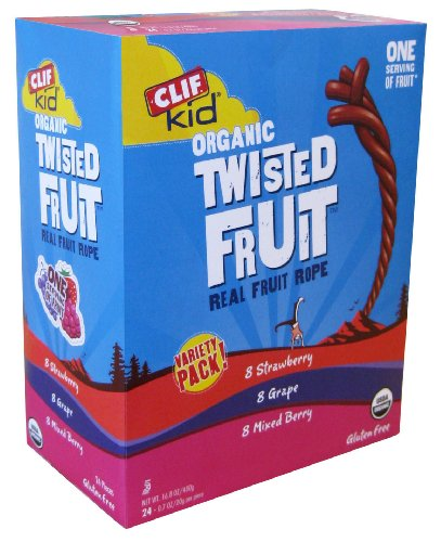 Clif Kid Organic Twisted Fruit Variety Pack - 8 Strawberry, 8 Mixed Berry, 8 Grape., 16.9-Ounce Box