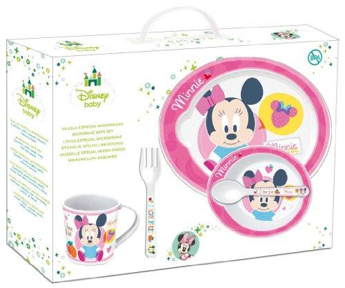 STOR 30579 Minnie Disney Baby Set Pappa 5 Pezzi con Piatto, Ciotola, Tazza, Cucchiaio e Forchetta, Rosa