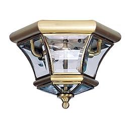 Livex Lighting 7052-01 Monterey/Georgetown 2 Light Ceiling Mount, Antique Brass
