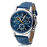 Fortan Neue Männer Art und Weise blaue Krokodil-Leder-analoge Uhr