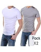 Levis - T Shirt Pack Col Rond*2 Blanc/gris