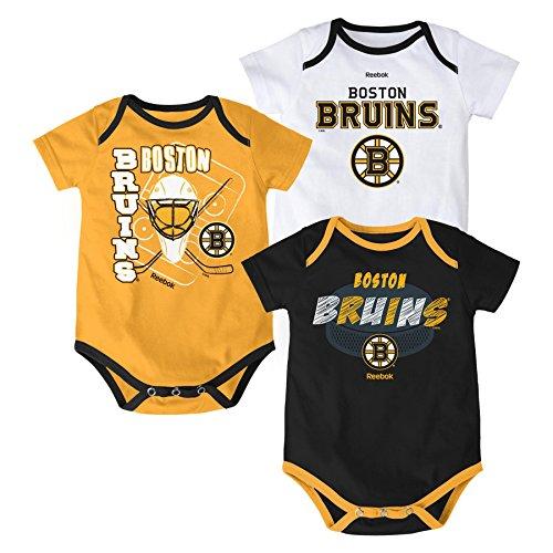 "NHL Boston Bruins Infant ""3 PT Spread"" Bodysuit Set, 18 Months, Black"