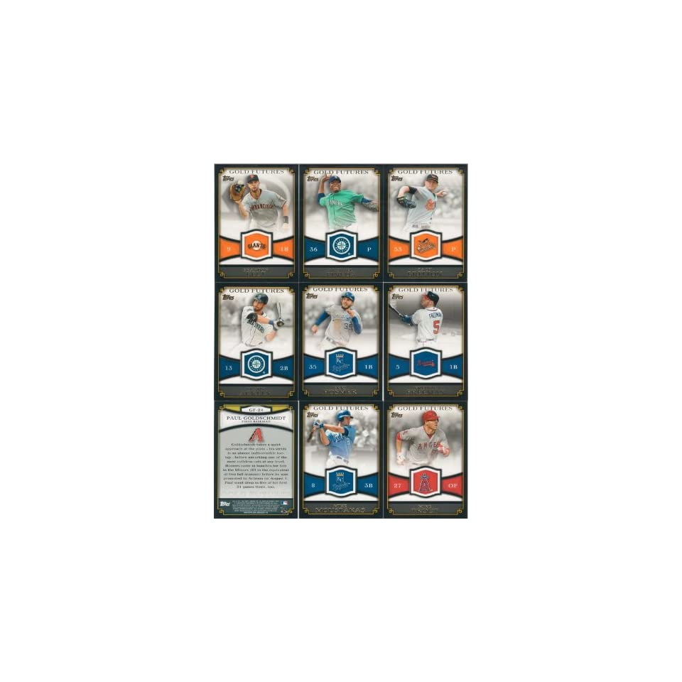 2012 Topps Baseball Gold Futures Series Complete Mint 25 Card Insert Set Including Top Prospects Michael Pineda, Zach Britton, Brandon Belt, Freddie Freeman, Eric Hosmer, Dustin Ackley, Starlin Castro, Mike Trout and More