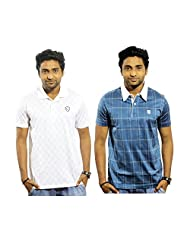 Garushi Men'S White And Blue Polo Neck T-Shirt Combo