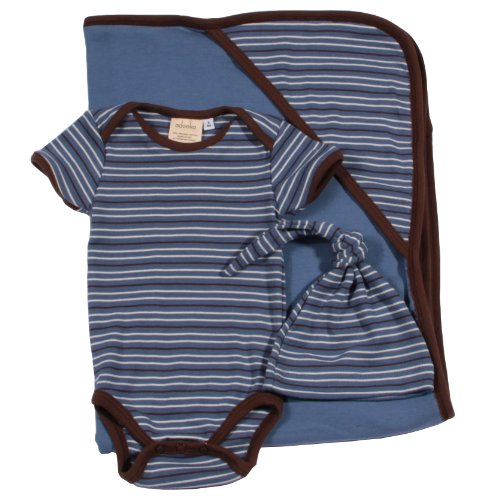 Adooka Organics Organic Baby Blanket Gift Set, Blue Stripe - Made in USA