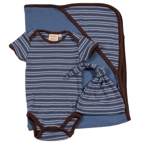 Adooka Organics Organic Baby Blanket Gift Set, Blue Stripe - Made in USA