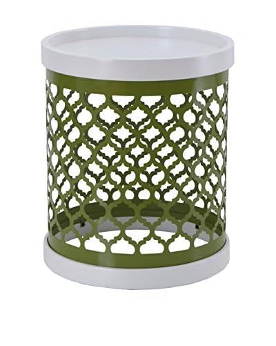 Luxury Home Quatrefoil Metal Drum, Green