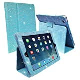 IPAD AIR BLUE DIAMOND BLING SPARKLY CRYSTAL PU LEATHER MAGNETIC FLIP CASE COVER STAND SKIN BY Connect Zone�