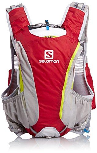Salomon, Zaino da running Skin Pro 14+3, Rosso (Red/White/Gecko), 43,0 x 21,0 x 20,0 cm, 17 l