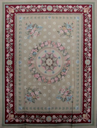 9 X 12 Beige Red Floarl All Over Design Hand Woven Aubusson Weave Area Rug Designer S173